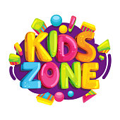 Kids zone vector cartoon.