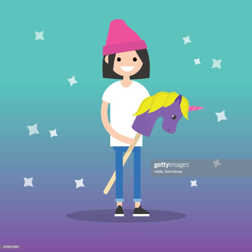 Kidult (kid + adult) conceptual illustration: young female adult riding a hobby horse / flat editable vector illustration