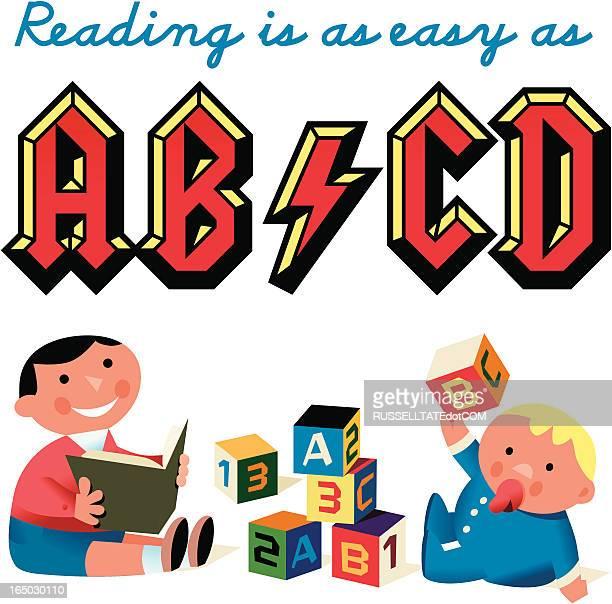 ilustrações, clipart, desenhos animados e ícones de kidz abcd - livro de capa dura