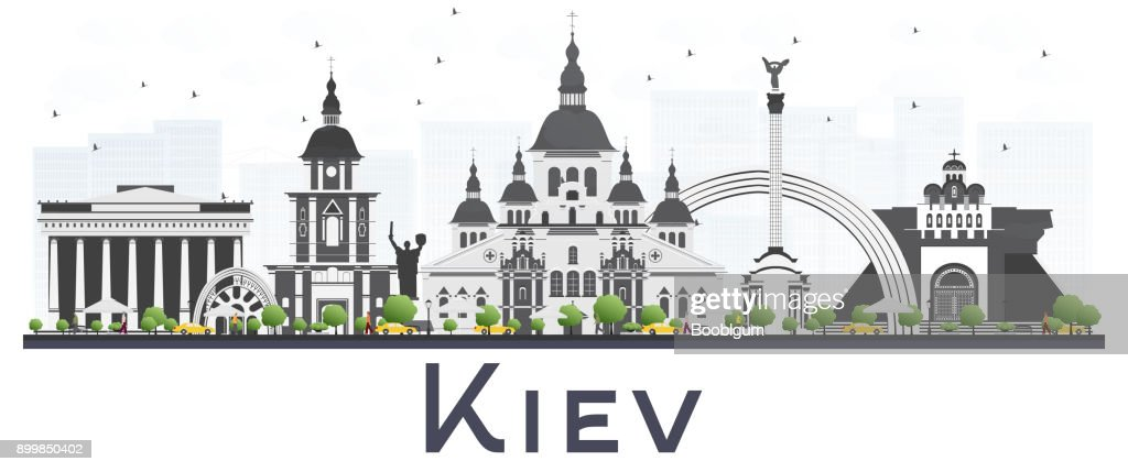 Kiev Ukraine City Skyline with Gray Buildings Isolated on White Background.