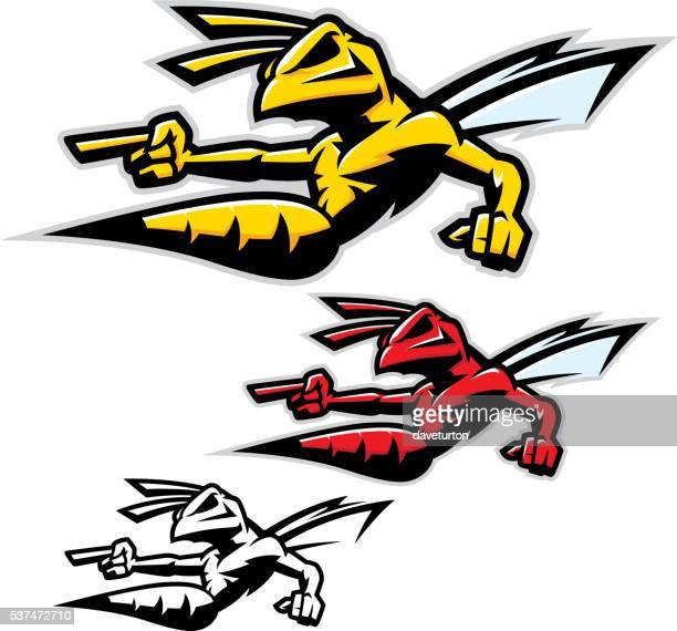 killer wasp / hornet - agression stock illustrations, clip art, cartoons, & icons