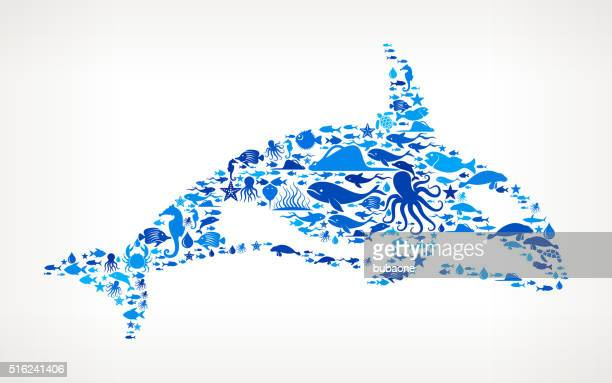 killer whale ocean and marine life blue icon pattern - killer whale stock illustrations, clip art, cartoons, & icons