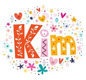 Kim girls name decorative lettering type design