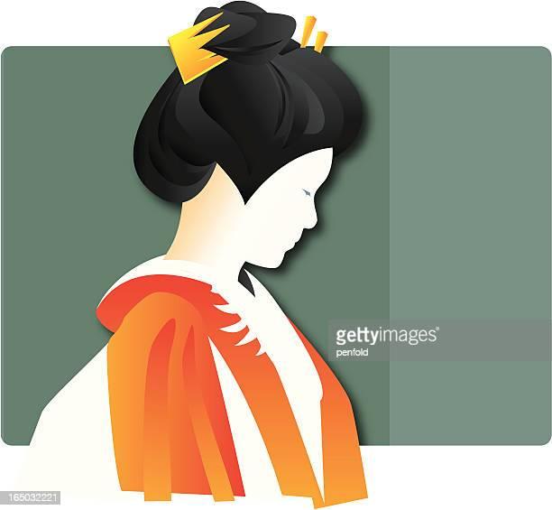 kimono girl - hair bun stock illustrations, clip art, cartoons, & icons