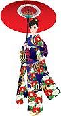 Kimono pattern of camellia. Japanese women. Full dress. Japanese umbrella.