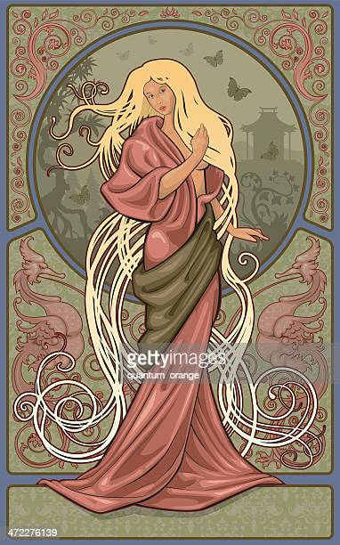 kimono woman - art nouveau stock illustrations, clip art, cartoons, & icons