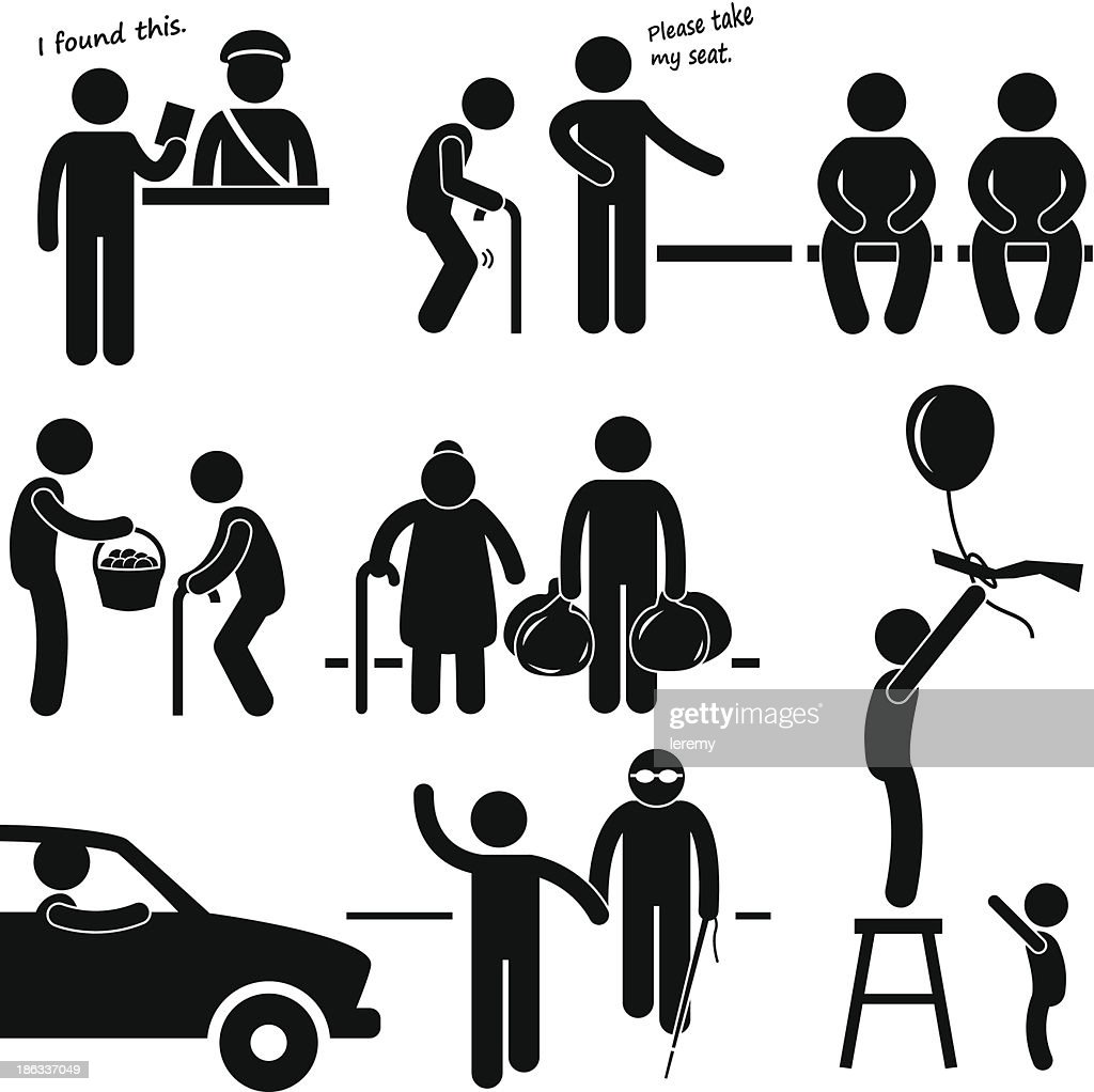 Kind Good Hearted Man Helping People Pictogram