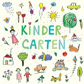 Kindergarten banner with funny kids drawing