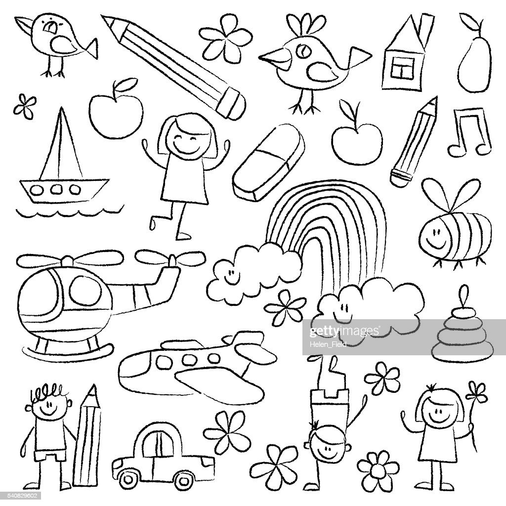 Kindergarten doodle pictures White background