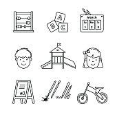 Kindergarten education icons thin line art set