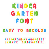 Kindergarten Font. Folded Paper Cut Typeface