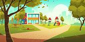 Kindergarten kids playground, empty children area