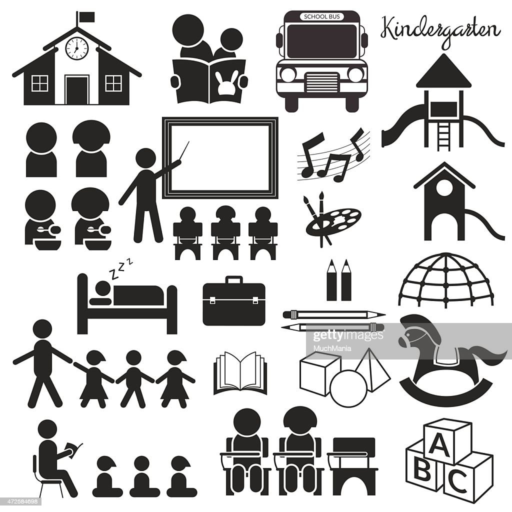 Kindergarten, Preschool, Mono Icons Set