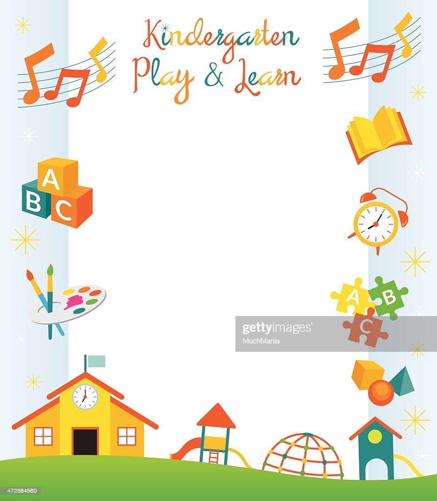 Kindergarten, Preschool, Objects Border and Frame
