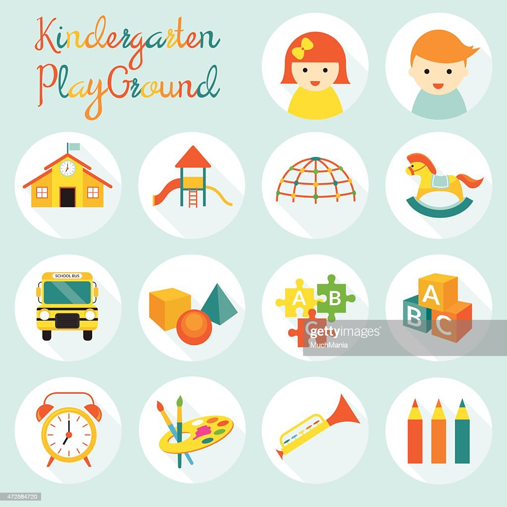 Kindergarten, Preschool, Objects Icons Set