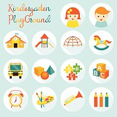 Kindergarten, Preschool, Objects Icons Set