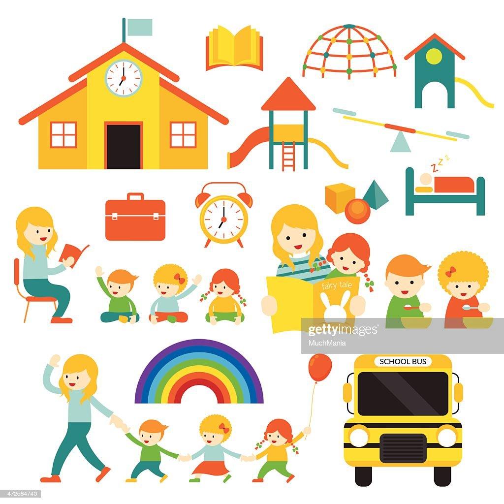 Kindergarten, Preschool, Teacher and Kids Set A