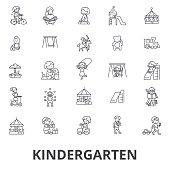 Kindergarten, preschool, teacher, nursery, playground, daycare, kids playing line icons. Editable strokes. Flat design vector illustration symbol concept. Linear signs isolated