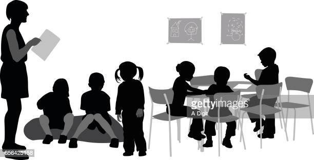 kindergarten teacher - instructor stock illustrations