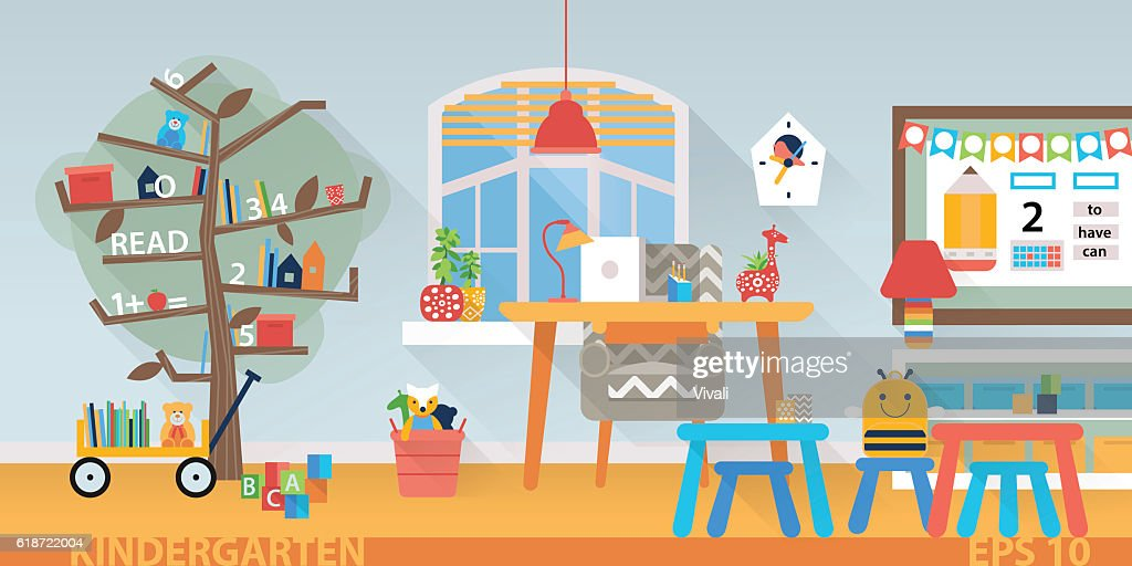 Kindergarten vector education interior. Learning and study place horizontal back