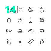 Kinds of Food Line Icons Set