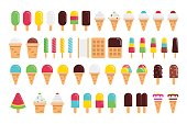 Kinds of ice cream vector flat isolated on white background