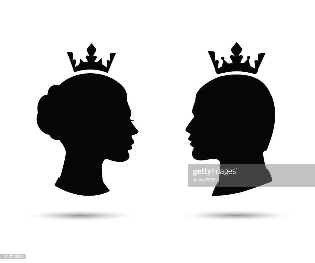 king and queen heads vector silhouette