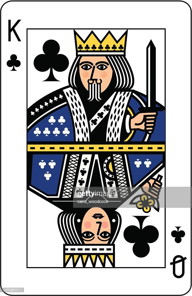 King and Queen of Clubs Playing Card : stock illustration