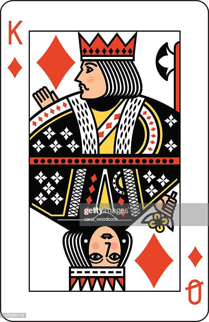 King and Queen of Diamonds Playing Card : stock illustration
