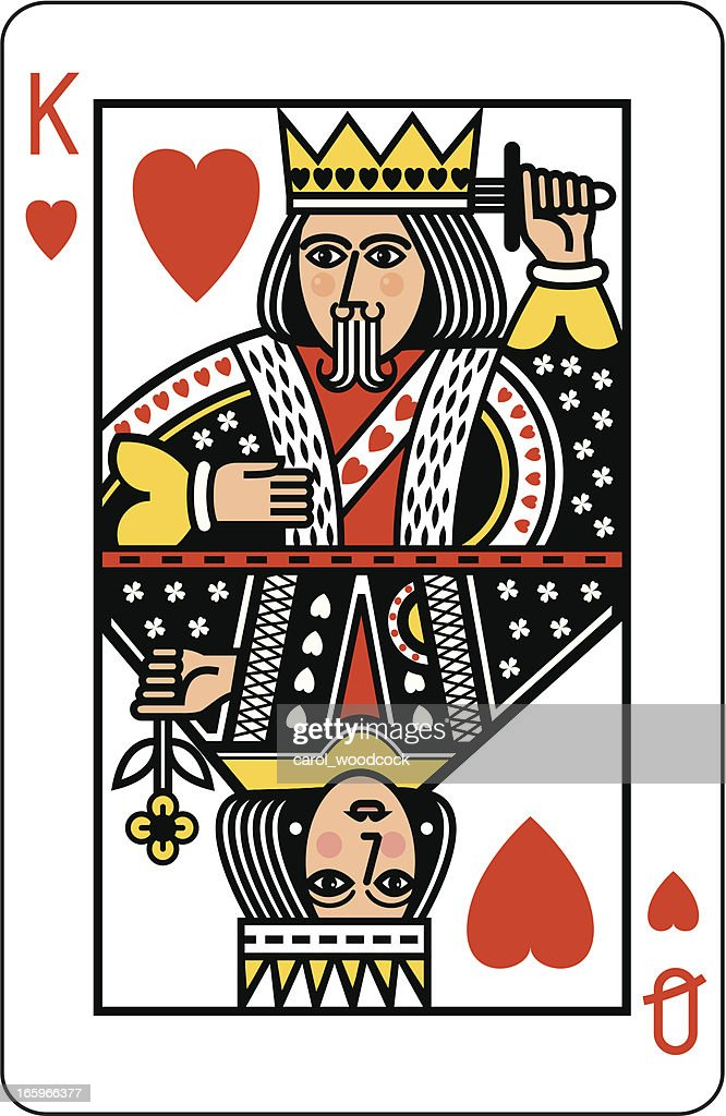 King and Queen of Hearts Playing Card : stock illustration