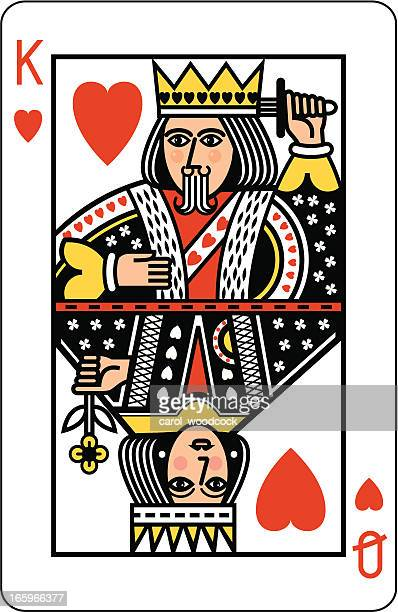 king and queen of hearts playing card - queen royal person stock illustrations