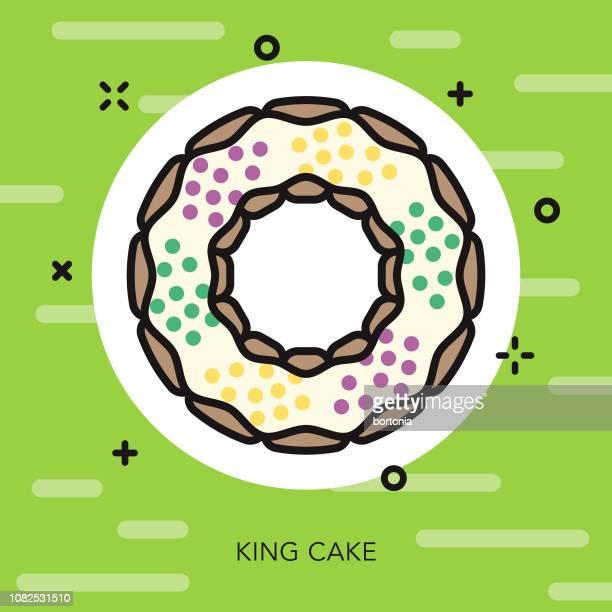 bildbanksillustrationer, clip art samt tecknat material och ikoner med kung tårta tunn linje mardi gras ikonen - gras