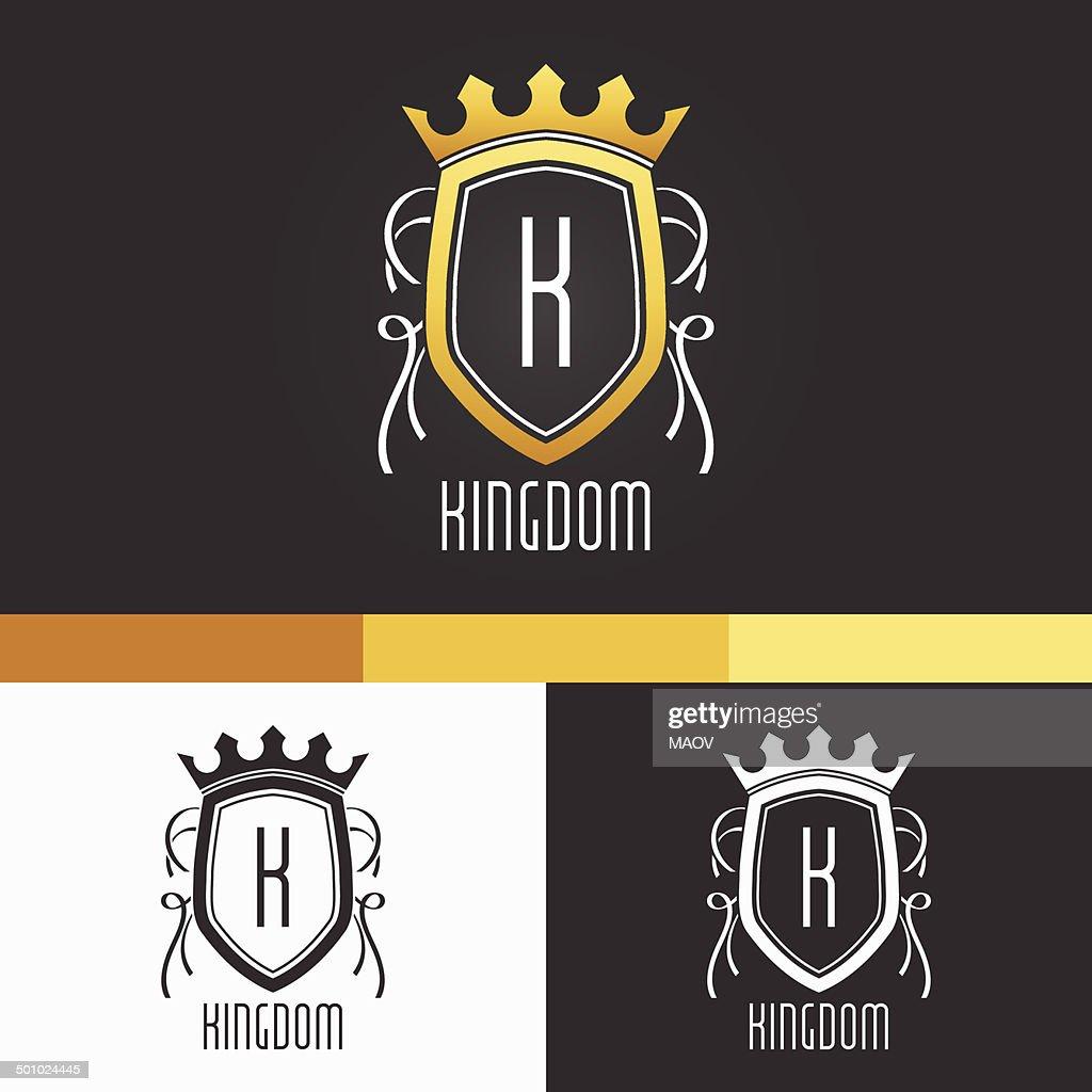 King Crest Ornament Template. Vector Elements. Brand Icon Design Illustration