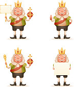 King cute cheerful ruler blank paper thumb up crown on head power and scepter in hands cartoon character 3d realistic isolated vector illustration