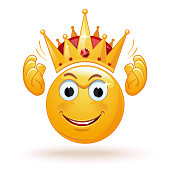 King emoticon wears a crown