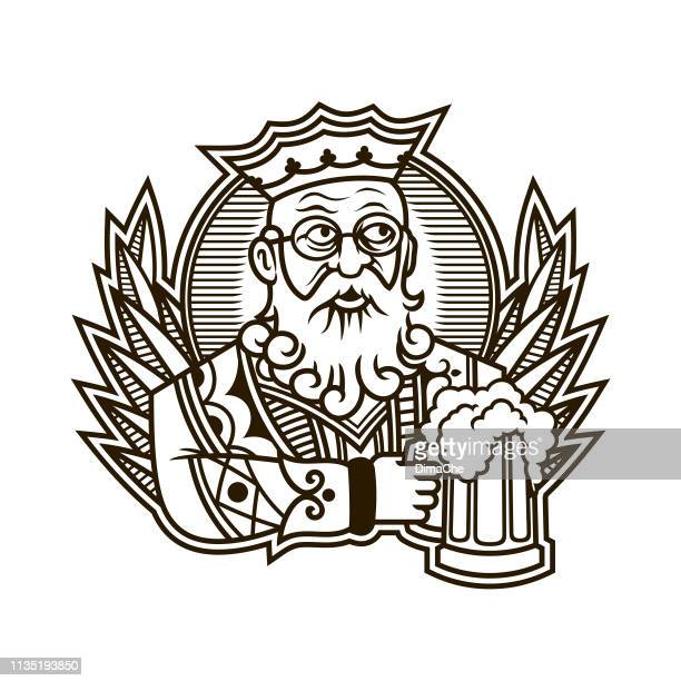 king holding a mug of beer - king of clubs character in playing cards - king royal person stock illustrations