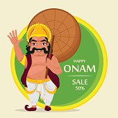 King Mahabali. Happy Onam festival in Kerala.