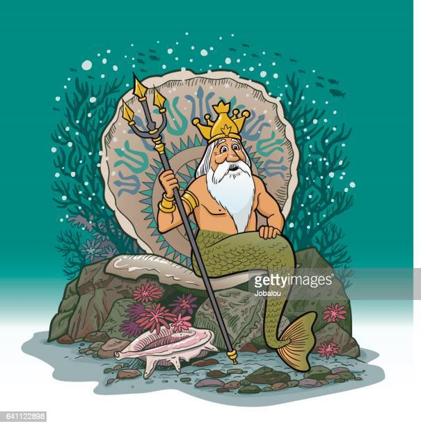 King Neptune Under Water Cartoon