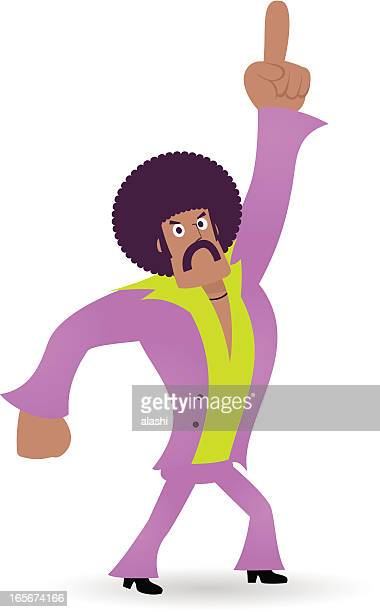 King of Disco, Dancing Man,1970s styled dude points upward