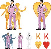 King of hearts attractive asian man with corps de ballet