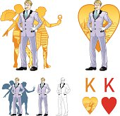King of hearts attractive caucasian man with corps de ballet