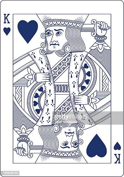 stockillustraties, clipart, cartoons en iconen met king of hearts playing card in blue line - koning koninklijk persoon
