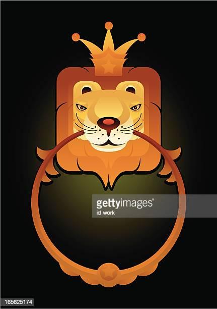 illustrations, cliparts, dessins animés et icônes de roi de lion - marteaudeporte