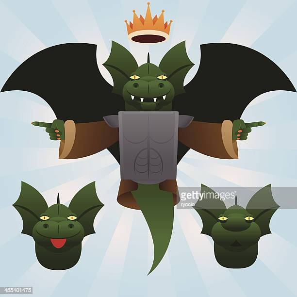 king of the dragons - cartoon characters with big teeth stock illustrations