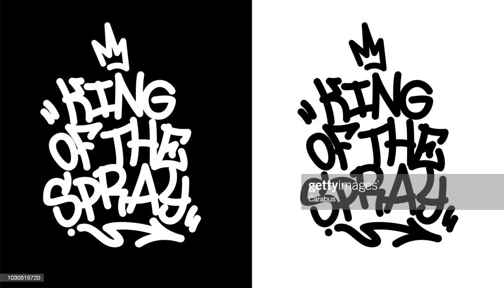 King of the spray. Graffiti tag in black over white, and white over black. Vector illustration.