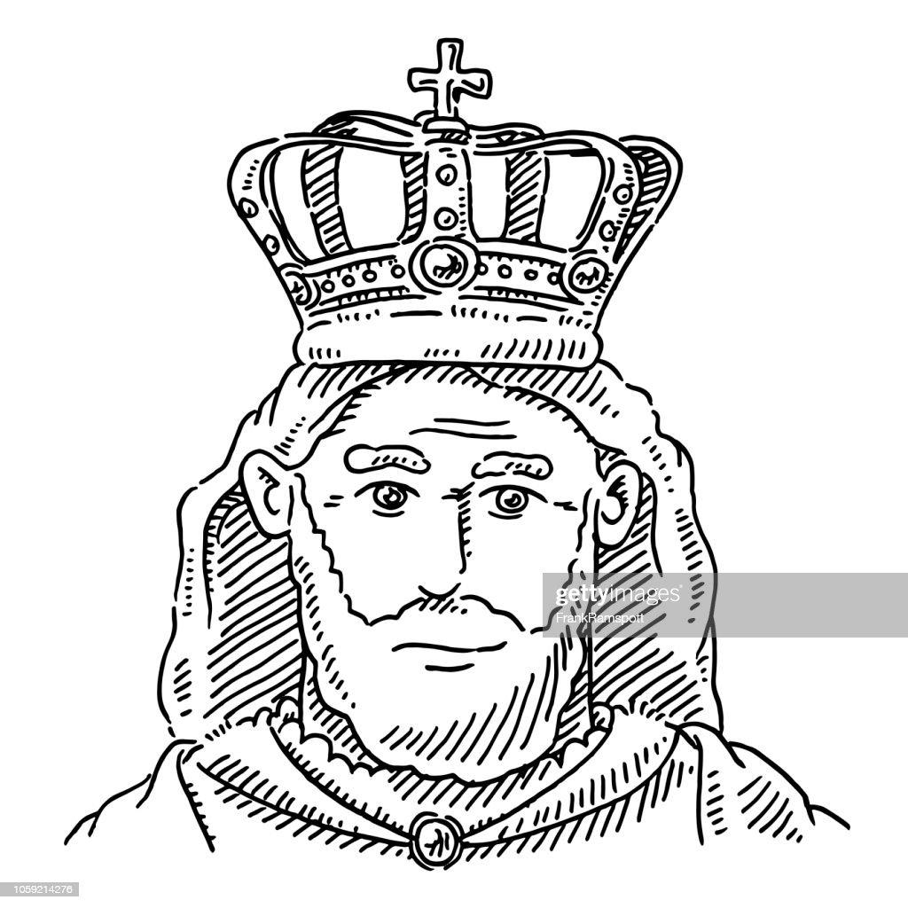 Porträt der Königskrone Monarch Zeichnung : Stock-Illustration