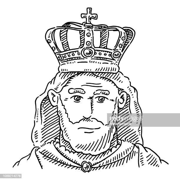 Porträt der Königskrone Monarch Zeichnung