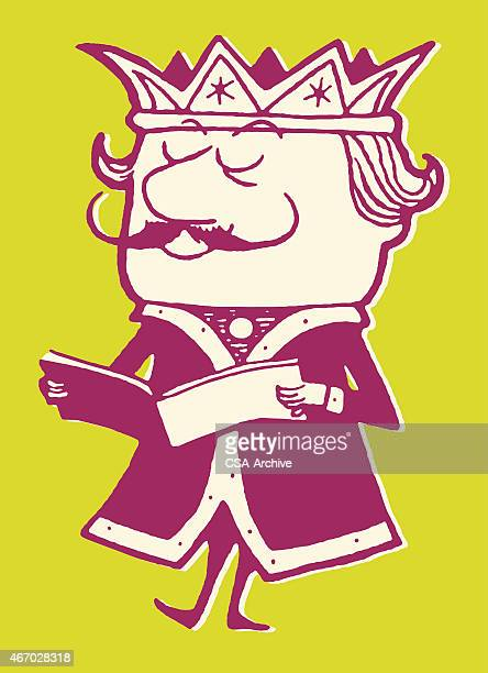 king reading - emperor stock illustrations, clip art, cartoons, & icons