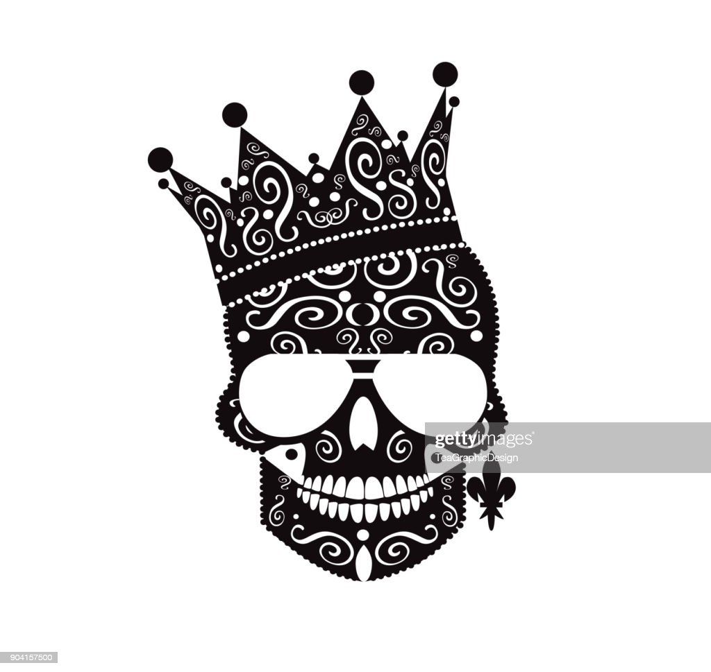 King skull icon with crown and earing