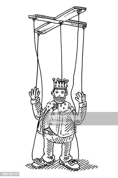 stockillustraties, clipart, cartoons en iconen met koning string puppet toy tekening - koning koninklijk persoon